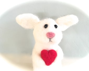 Felt bunny with heart , needle felted white bunny , cute animal , Easter rabbit Valentines hare needlefelt felting  red one of a kind unique
