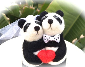 Panda cake topper panda cake topper wedding panda bear needle felted panda bride and groom cake topper animal red heart funny cute unique