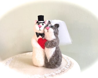 Cats wedding cake topper cat cake topper just married red heart Mr and Mrs funny figurine couple bride and groom needle felted bow tie veil