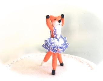 Needle felted baby fox ballerina , girl birthday cake topper , baby animal dancing ballet , whimsical red fox art ,  cute vixen tod pup dog