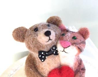 Animal wedding cake topper animals , wedding animal cake topper, cat and bear couple bride groom needle felted red heart felt felting mr mrs