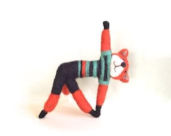 Yoga studio decor , yoga fox , yoga animals , red fox decor , fox gift for her yoga lover cute needle felted fox feng shui trikonasana funny