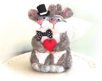 Rabbit wedding cake topper rabbit cake topper wedding bunny red heart animals hare couple felted funny cute cotton tail  bride and groom