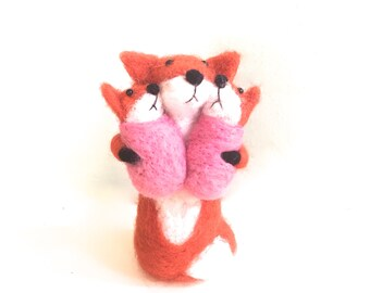 Twins baby shower cake topper , twin girls , needle felted fox animal,   twin baby girl shower decoration. mama with babies cute figurine