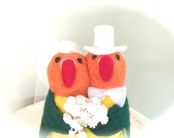 Love birds wedding cake topper love birds , felt love birds parrot lovebirds needle felted bird tropical island green orange yellow cute hot