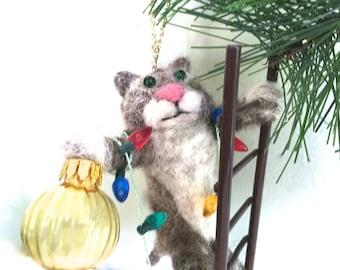 Needle felt cat Christmas ornament funny cat cute felting handmade cat lover gift felted cat wool fiber red green white decor decorations
