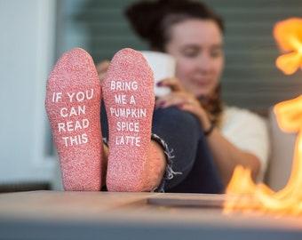Pumpkin Spice Latte Socks, PSL, fall gift for her,