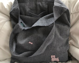 Linen tote bag with hand embroidery, natural shopping bag, linen shoulder bag, eco reusable grocery bag, personalized bag, Dog lover's bag