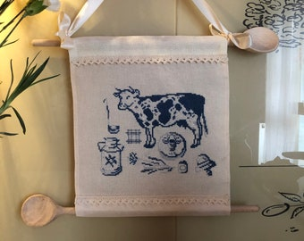 Lavander Cow Embroidered Natural Cotton Set of towels and pano