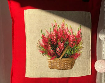 Wildflowers Scottishheather Embroidered Canvas Tote pillow