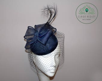 Navy sinamay cocktail hat c9d51a7d440