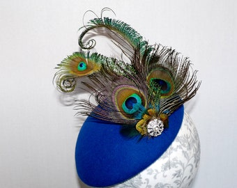 b27bcf67 Royal blue felt bow hat, Peacock feather pillbox, Royal electric feather  cocktail hat, Felt percher, Peacock occasion wedding hat fascinator