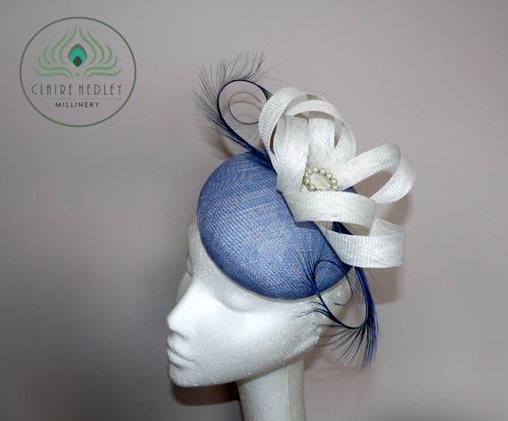 Pale blue white hat Powder blue white cocktail hat Blue  d3785cb105a