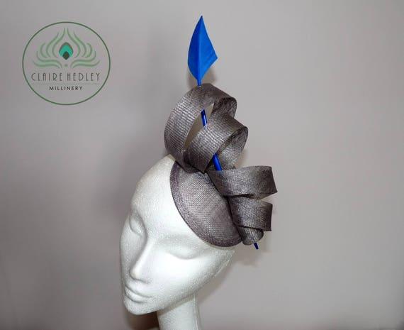 Silver blue cocktail hat Light grey wedding fascinator  34a56c552f2