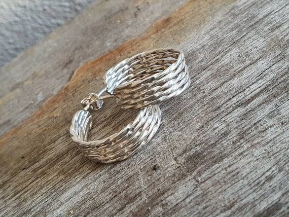 Vintage Silver Hoop Earrings , Half Hoops