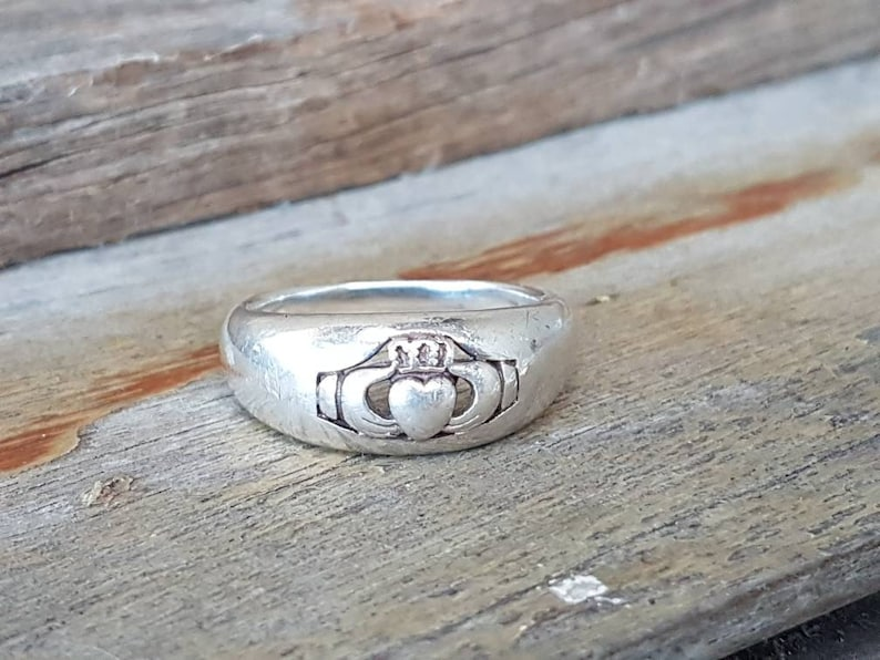 Sterling Silver Large Size Mens Irish Wedding Band Gifts For Him Claddagh Ring