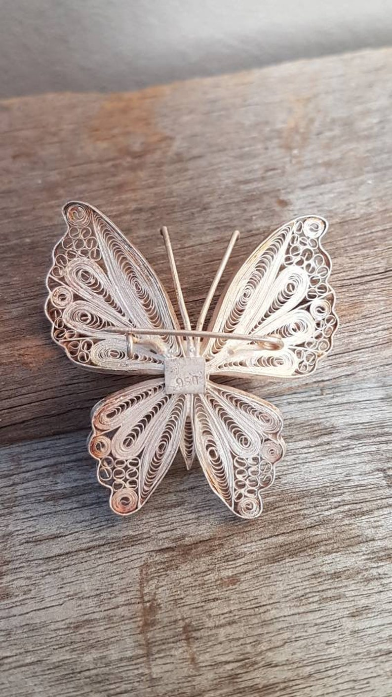 950 Silver Gifts For Her Silver Filigree Butterfly Brooch
