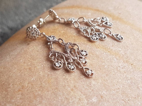 Vintage Chandelier Earrings , Sterling Silver CZ