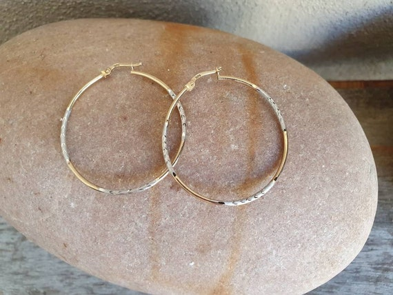 Vintage Gold Hoop Earrings , 9ct Two Tone Gold