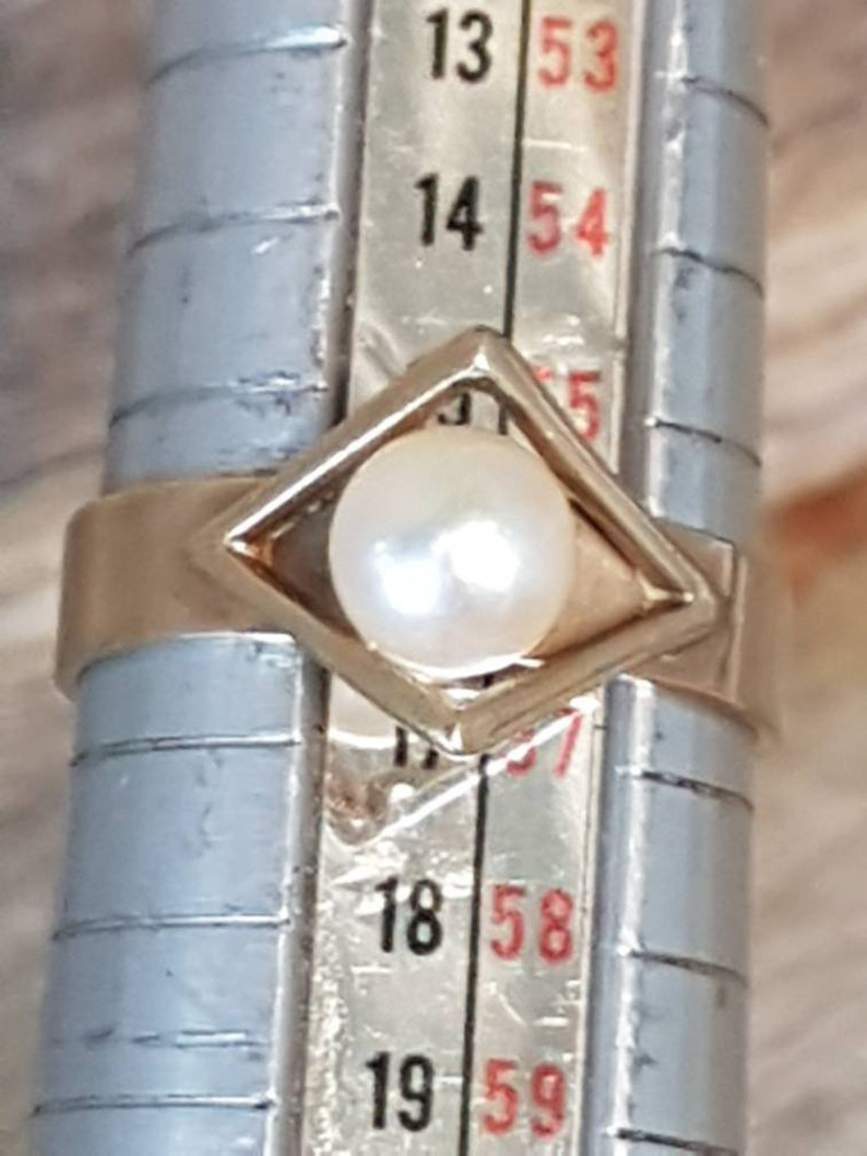 Vintage 60s Pearl Ring Cultured Pearl 9ct Gold