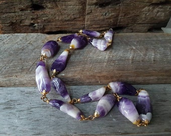 Natural Amethyst Necklace , Gemstone Necklace , Vintage Amethyst Necklace , Purple Amethyst Ultra Violet