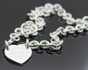 ba1e8fa7f AUTHENTIC TIFFANY & Co ''Return To Tiffany''Heart Tag Sterling Silver Choker  15.5''