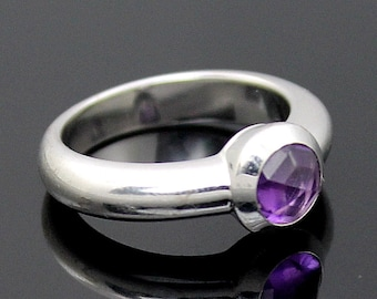 aa8a893c2 Authentic TIFFANY & Co RARE France Genuine Faceted Amethyst Solid 18K White Gold  Solitaire Ring Size 5.75