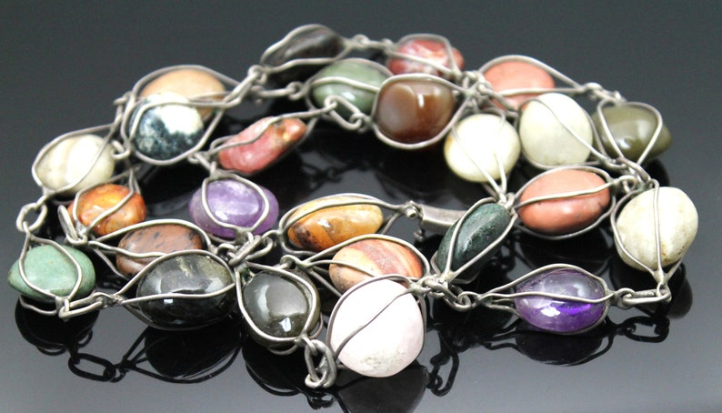 Gift Idea ! Handcrafted ONE of A KIND Genuine Amethyst Mahogany Obsidian Quartz Jasper Aventurine Sterling Silver Long Necklace  Belt 34