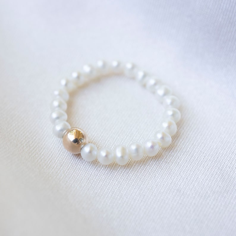 Womens Pearl Ring Gold and Pearl Ring Gold Ring 14k Gold Ring Rings For Her Pearl Ring Gift Simple Pearl Ring Adjustable Ring