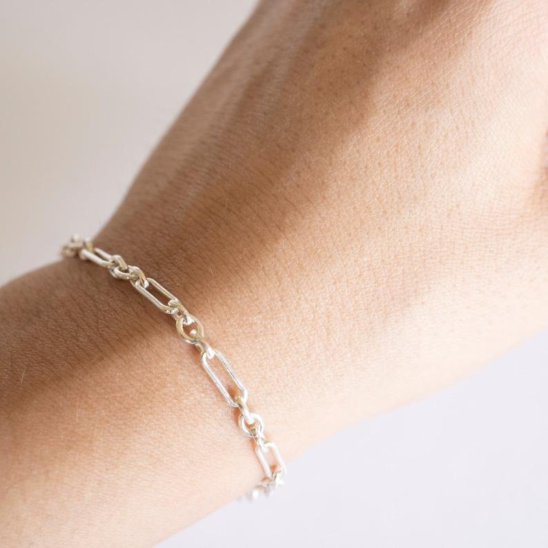 Bracelet Chain Bracelet,Gift Chain and Link Bracelet Sterling Silver Bracelet Sterling Silver Saturn Bracelet Simple Silver Bracelet