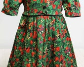 Carrousel Dress Girls 3 4 Strawberries Black Velour Gold Accent Holiday