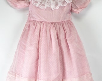 50bcd7a2de2 Sylvia Whyte Pink Dress Girls Sz 4 Sheer White Bows Lace Collar Party