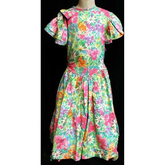 small 90/'s green /& pink floral cami princess dress