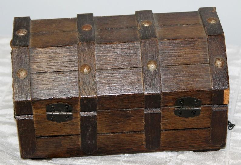 Treasure Chest Wooden Jewelry Trinket