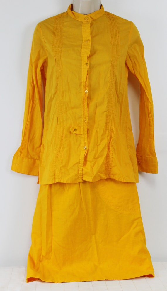 Yellow-Orange Linen Shirt Wrap Around skirt Outfit