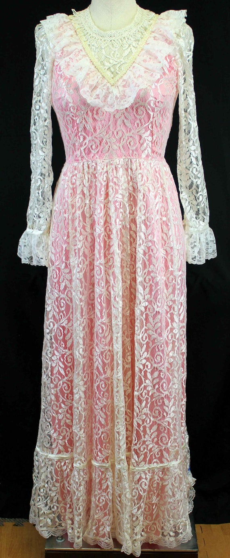 Pink Satin White Lace Dress 6/8 Long Sleeve Full L