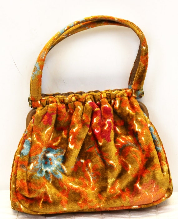 1960s/70s JR Florida Floral Handbag Purse Bag Upho