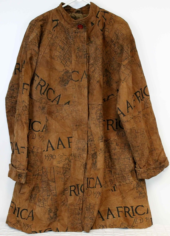 The African Star Suede Leather Coat Map Print Wome