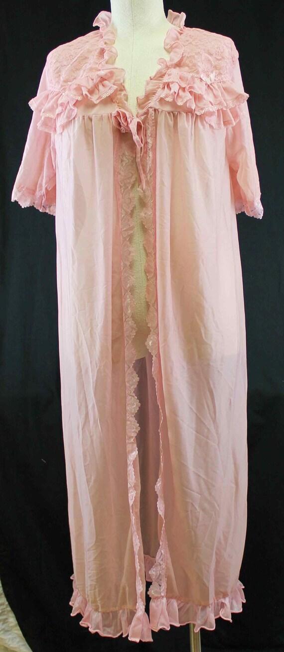 Night Dress Robe L/XL Muted Pink Lace Sheer Ruffle