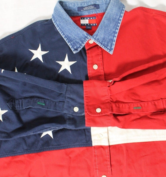 VTG 90s Tommy Hilfiger USA Flag Rare Denim Collar