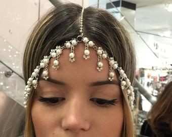 Head Bands – Gatsby tears silver three row head piece w/pearls & crystals