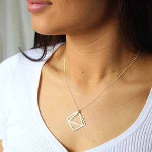 fair trade Geo short Triangle Sustainable Sterling Silver Necklace Hand Made in Toronto eco-friendly
