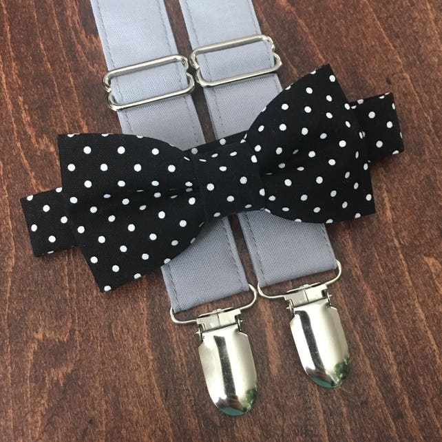 Black & Gray Bow Tie and Suspender Set for men, boys, toddlers, and babies. Sent 1-3 business days after you order