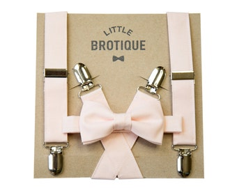Blush/ Petal Bow Tie and Suspender Set for men, boys, toddlers, and babies.