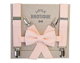 Peach Bow Tie and Peach Suspenders for babies, toddlers, boys, and men.