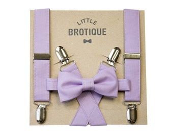 Lavender Bow Tie and Suspender Set for men, boys, toddlers, and babies.