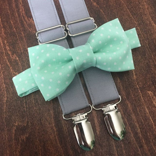 Mint & Gray Bow Tie and Suspender Set for men, boys, toddlers, and babies. Sent 1-3 business days after you order