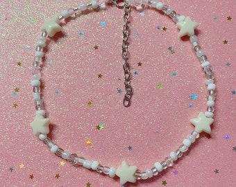 Handmade White Stars Beaded Choker