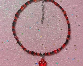 Handmade Red & Black Beaded Choker with Heart Charm