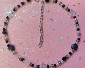 Handmade Black/Clear Hearts & Stars Beaded Choker